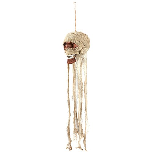 Hanging Skull Prop - Scary Decoration for Halloween - Skeleton Head Decoration, 5 x 39 x 6.5 Inches, Beige, (Skeleton Halloween Movie)