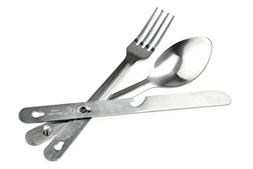 SE KC7043FSK Survivor Series 4-IN-1 Stainless Steel Utensil Set (Spoon, Fork, Knife, Bottle ()