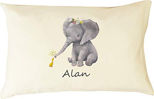 DorDor & GorGor Personalized Toddler Pillow with Watercolor Pillowcase, Ultra Soft Organic Cotton, Giftable Box, 13 X 18 inches, Elephant II