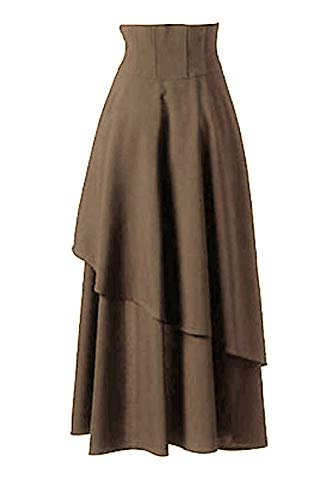 Lolita Le Maxi Victorian Jupes Steampunk Les Sopliagon Jupe Kaki Gothique xpqacY