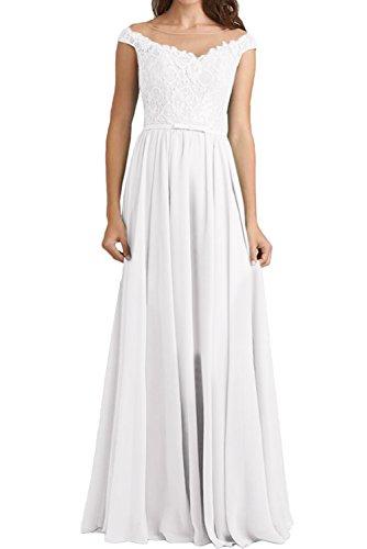 Rundkragen Weiß Abendkleider Lang Ivydressing Damen Brautjungfernkleider Elegant Spitzenkleid vqZxIwT