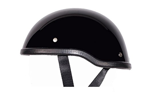 Low Profile Novelty Harley Chopper Motorcycle Half Helmet Skull Cap Shiny Black (Large 23