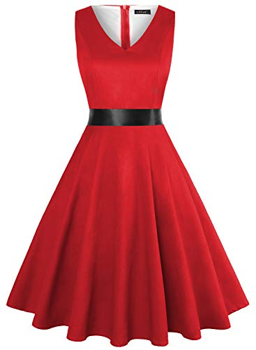 IHOT Vintage Tea Dress 1950's Floral Spring Garden Retro Swing Prom Party Cocktail Dress for Women (XXXL, Red)