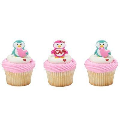 Valentine's Day Penguin Cupcake Rings - 24 pc -