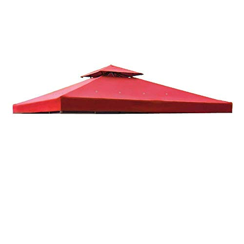 Heavy Duty 8x8 Ft Feet Square Garden Canopy Gazebo Replacement Top Red Color Outdoor Patio UV Protection Sun Shade Waterproof Polyester Fabric Tent