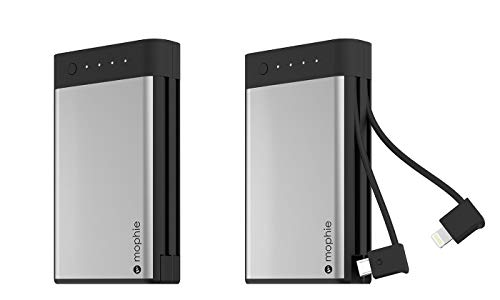 mophie 10,050mAh Encore Portable Power Bank External Battery with Built-in Lightning Cable / Micro USB Charger (Apple iPhone XS MAX X 8 iPad Mini) and More
