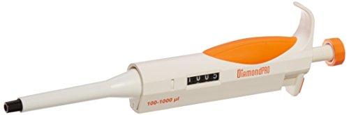 Globe Scientific Diamond PRO 3311-1000 Adjustable Volµme Research Micropipette, 100-1000µL Volume, Orange