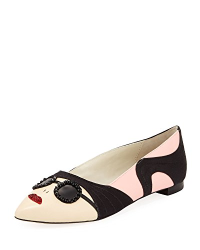 Alice + Olivia Stacey Face Pointy Flat, Soft Pink, Size 6