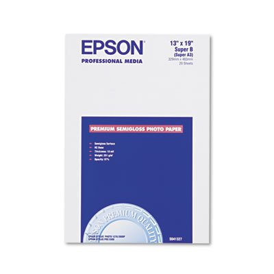 Epson Premium Photo Paper SEMI-GLOSS (13x19 Inches, 20 Sheets) (S041327)