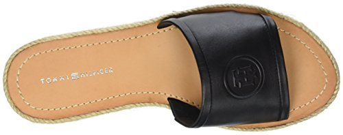Tommy Hilfiger Leather Flat Mule, Sandalias con Punta Abierta Para Mujer Negro (Black 990)
