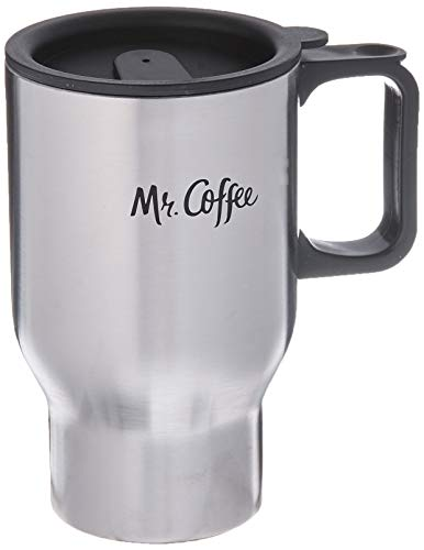 - Gibson Mr Coffee 72793.02 Expressway 13.5 Ounce Brushed Stainless Steel Travel Mug with Black Lid and Handle, 13.5 oz, Silver