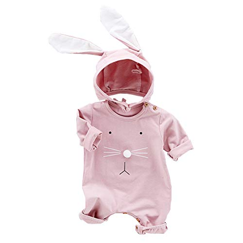Fairy Baby 2PCS Easter Outfits for Baby Boys Girls Cotton Bunny Outfit Long Sleeve Romper+ Big Ear Cap Size 3-6M (Pink)]()