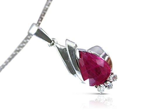 Milano Jewelers 1.54CT DIAMOND & AAA RUBY 14K WHITE GOLD CLASSIC TEAR DROP PENDANT #12091