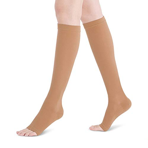 Fytto 2020 Open-Toe Compression Socks, Breathable Microfiber, 15-20 mmHg Graduated Support – Discreet Medical Hosiery for Professionals, Relieves Swelling & Alleviates Varicose Veins, Tan, Small