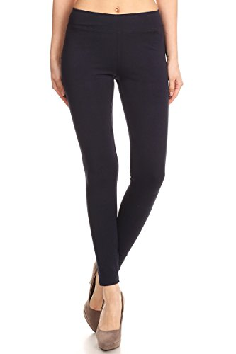 - 31nUawSS62L - Women's Basic Cotton Stretch Leggings with Comfort Waistband