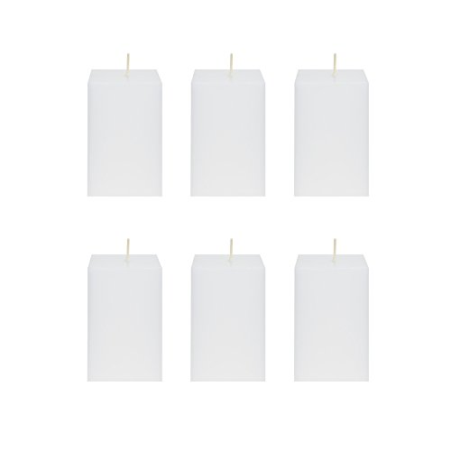 Square Wedding Pillar (Mega Candles 6 pcs Unscented White Square Pillar Candle | Hand Poured Premium Wax Candles 2