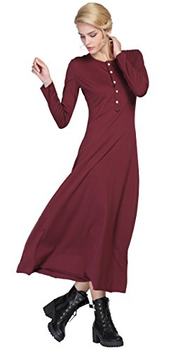 Urban CoCo Women's Casual Long Dress Long Sleeve Button Down Dress (Large, Wine red)