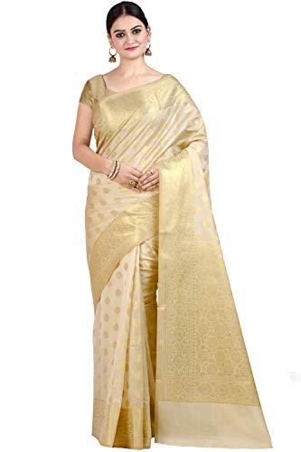(Chandrakala Women's Beige Cotton Silk Blend Banarasi Saree,Free Size(1105BEI))