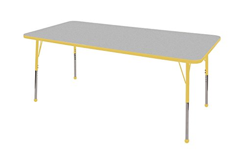 "ECR4Kids T-Mold 30"" x 72"" Rectangular Activity School Table, Chunky Legs, Adjustable Height 15-24 inch (Grey/Yellow)"