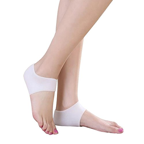 Forepin® 1 Pair Silicone Gel Heel and Ankle Sleeves Socks Pads Cups Sleeve Pain Relief Plantar Cushion for Plantar Fasciitis Heel Spurs - White