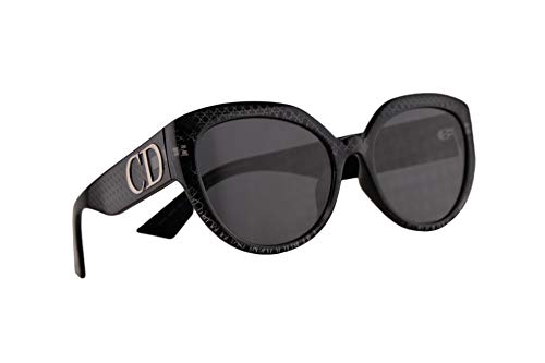 Christian Dior DDiorF Sunglasses Siler Mirror Black w/Grey Lens 56mm PRN2K DDior