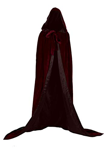 Burgundy Womens Wraps Elegant Velvet Hooded Wedding Cloak Winter Long Cape (Burgundy, -
