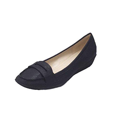 Señoras mocasines de cuña / zapatos bajos de los tribunales Black