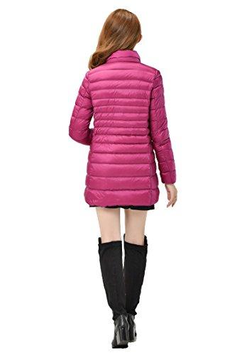 Ms. Lungo Tratto Piumino Giacca Calda Di Cotone Multicolore Multi-size,Redrose-xl