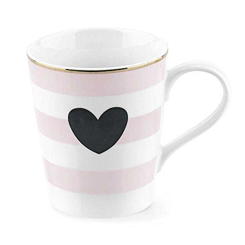 Miss Etoile Coffee or Tea Mug Ceramic Straight Rose Stripes with Large Black Heart