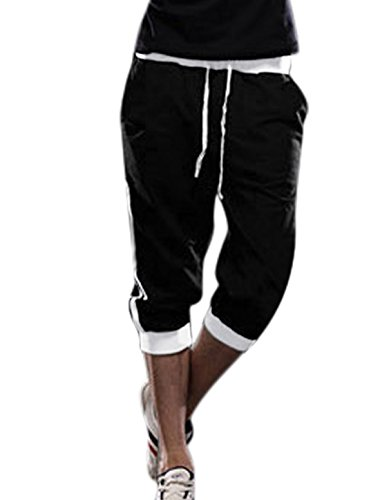Allegra K Men Drawstring Waist Pockets Sport Capris Trousers Black White W34