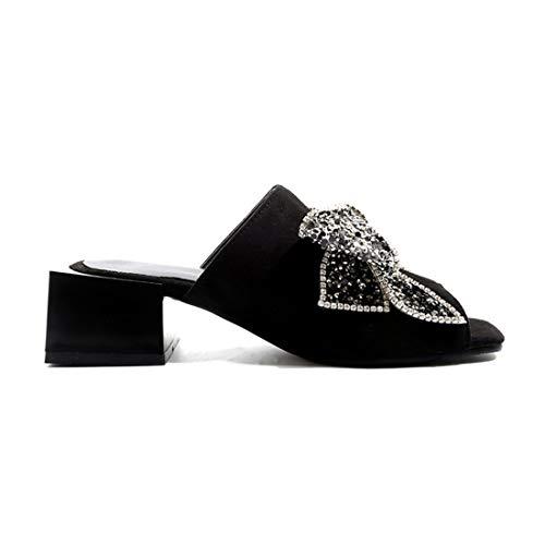 En Donna Noeud Bloc Élégant D'Été Open Vitalo Bow Avec Chaussures Moyen Sandales Talon Noir Carré 7xZpYYwqd