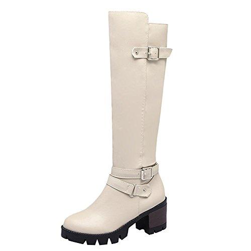 Charm Foot Womens Comfort Chunky Con Cerniera Fibbia Al Ginocchio Stivali Alti Bianco