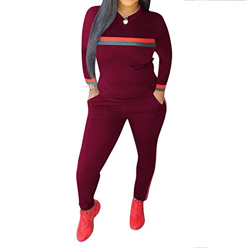 Top-Vigor Women 2 Pieces Sports Tracksuits Outfits Long Sleeve Top and Long Bodycon Pants Sweatsuits Set - Long Sleeve Velour Suit