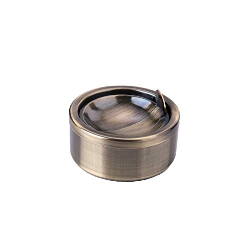 Kinger_Home Stainless Steel Classic Windproof Ashtray with Lid, Cigarette Ashtray for Indoor or Outdoor Use, Ash Holder for Smokers, Desktop Smoking Ash Tray for Home office Decoration(Bronze Cyan)