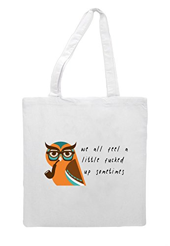 A Sometimes Vintage Character Feel Style Up Hipster White Owl Fucked Little Bag Animal Quote Shopper Tote All We 4OpRwzn