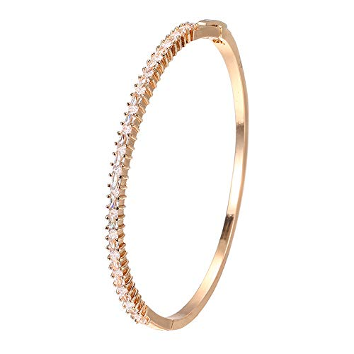 AIPAO Buckle Cuff Bracelet Diamond Bangle for Women, Girls, Teens (Micro Diamond Bracelet Gold) ()