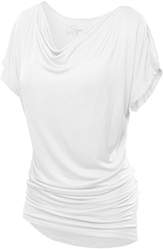 SATINA 2005 Convertible Short Sleeve Dolman Tunic Top (White, XXX-Large)