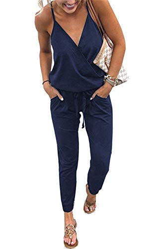 PRETTYGARDEN Women's Sexy Deep V Neck Spaghetti Strap Drawstring Waist Jumpsuit Romper with Pockets ()