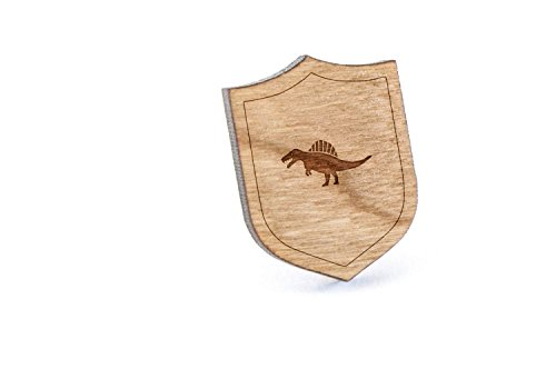 Spinosaurus Lapel Pin, Wooden Pin and Tie Tack   Rustic and Minimalistic Groomsmen Gifts and Wedding Accessories ()
