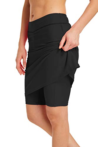 (MAXE Women's Athletic Swim Skirts with Briefs High Waisted Skirt Sun Protection Swim Skirt Capris UPF 50+ Skirted Skorts)