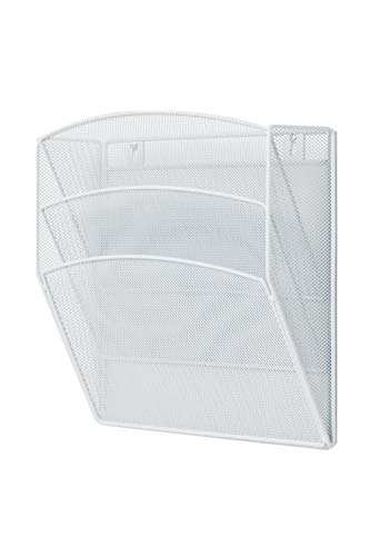 Klickpick Office Hanging Files Wall Mounted Metal Mesh Document File Organizer Magazine Holder Rack Organizer 3 Tier Section Racks Multipurpose Use to Display Files, Magazine, Newspapers (3t White) by Klickpick Office