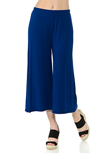 Jersey Pant - iconic luxe Women's Elastic Waist Jersey Culottes Pants Medium Royal Blue