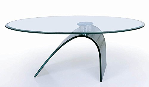 Oval Glass Cocktail Table - Curved