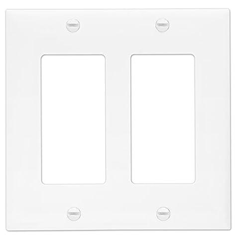 Enerlites 8832-W Decorator Light Switch GFCI Rocker Wall Plate, Standard Size 2-Gang, White - Chrome Hard Rocker