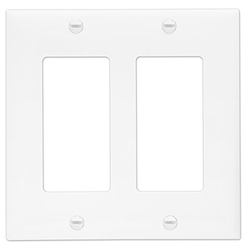 Enerlites 8832-W 2-Gang Decorator/GFCI Rocker Wall Plate, Standard Size, Unbreakable Polycarbonate, White