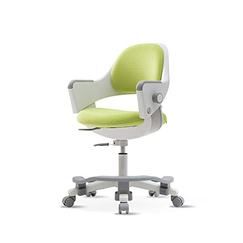 SIDIZ Ringo Kids' Home Study Desk Chair (SN509ACV) with Dual Type Gas Lift, 4-Level Back Adjustment + Footrest Included (Fabric Green)