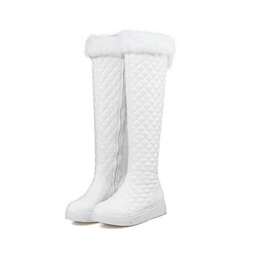 Amoonyfashion Mujeres Zipper Round Cerrado Dedo Del Pie Low-heels Solid Botas Blanco
