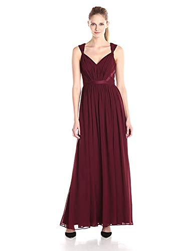 Vera Wang Women's V-Neck Chiffon Gown, Burgundy 12 -