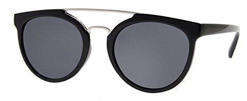 Cheapass Lunettes de soleil Verres Rondes Noir Effet Miroir UV400 Variation Homme Femme Noir1