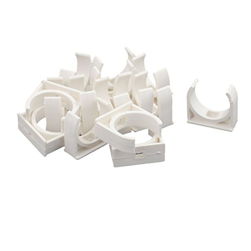 uxcell Home PVC U Shaped Water Supply Pipe Holder Clamps Clips White 32 mm Dia 15 Pcs